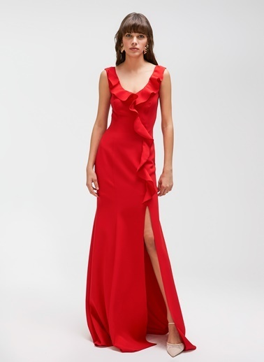 People By Fabrika Volanlı Abiye Elbise Kırmızı